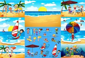 Ozeanszenen mit Touristen, die Spaß haben vektor