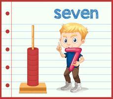 Junge, der Nummer sieben hält