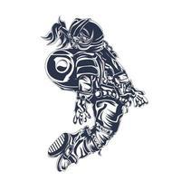 Astronaut Space Inking Illustration Kunstwerk vektor