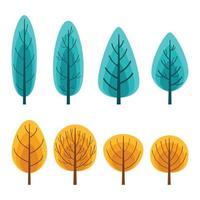 höst träd ikonuppsättning vektor