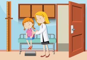 En tjej som har vaccin på sjukhuset