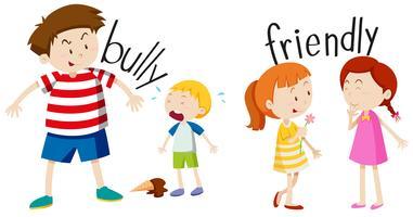 Bully Junge und freundliches Mädchen vektor