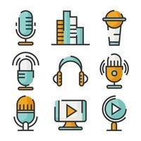 Sammlung von Podcast-Symbolen vektor