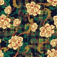 Eklektiskt tyg pläd sömlöst mönster med barock prydnad. vektor