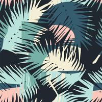 Nahtloses exotisches Muster mit tropischen Anlagen und künstlerischem Hintergrund vektor
