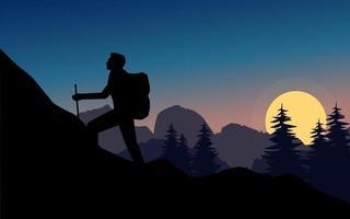 Naturlandschaft in Silhouette mit Mann, der Berg klettert vektor