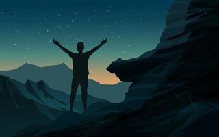 Nachthintergrund mit glücklichem Reisenden auf dem Berg vektor