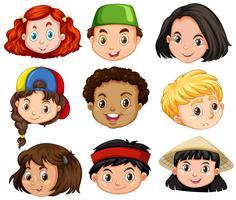 Olika ansikten av pojkar och tjejer
