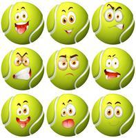 Tennisboll med ansiktsuttryck vektor
