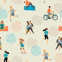 Vektor sömlöst mönster med aktiva unga människor.
