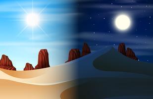 Ökensdag och nattscen vektor