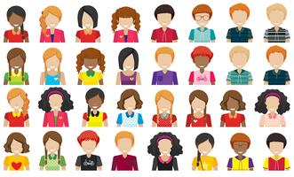 Grupp av människor utan ansikten