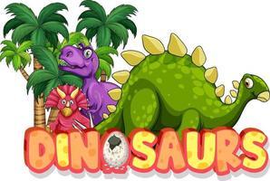 niedliche Dinosaurier-Cartoon-Figur mit Dinosaurier-Schriftart-Banner vektor