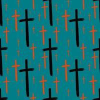 Kreuze nahtlose Muster für Halloween gefärbt vektor