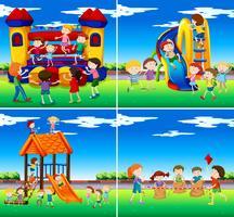 Sats av barn som leker vektor