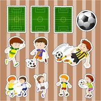 Aufkleberentwurf für Fußballspieler und -felder vektor