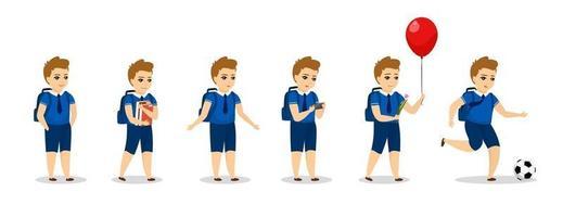 Schuljunge Charakter verschiedene Posen. süßer Cartoon-Junge in Uniform vektor