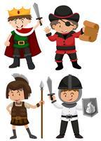 Fyra pojkar klädda i olika karaktärer vektor