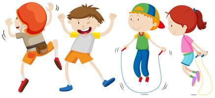 Pojkar och tjejer i olika rörelser