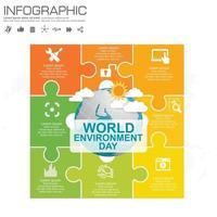 Erdkugel mit Infografik Weltumwelttag-Konzept. vektor