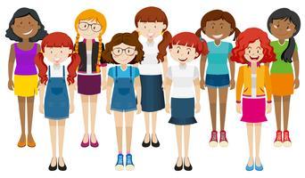 Grupp lycklig kvinna står tillsammans vektor