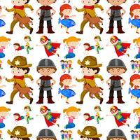 Nahtloses Hintergrunddesign für Kinder in verschiedenen Kostümen