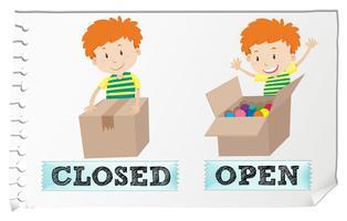 Motsatt adjektiv stängt och öppet
