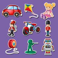 Klistermärke design för många leksaker