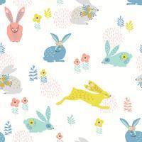 Vektor sömlöst mönster med kaniner för påsk