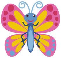 Fjäril med rosa vingar vektor