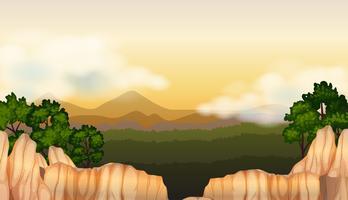 Hintergrundszene mit Wald im Tal vektor