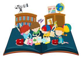 Studentstudie i klassrummet pop up bok vektor