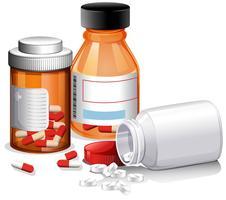 En uppsättning medicin på vit bakgrund