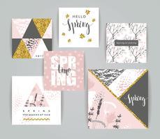 Set med konstnärliga kreativa vårkort.