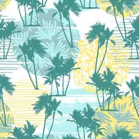 Seamless exotiskt mönster med tropiska palmer och geometrisk bakgrund.