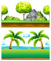 Zwei Szenen des grünen Gartens