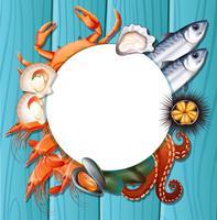Mischen Sie frische Meeresfrüchte-Vorlage vektor
