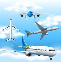 Många flygplan som flyger på himlen