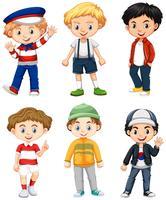 Sex pojkar i olika kostym vektor