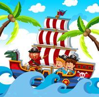 Ein Pirat mit glücklichen Kindern auf dem Schiff vektor