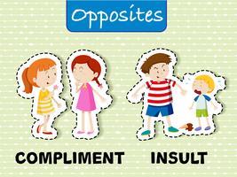 Gegensätzliche Wörter für Kompliment und Beleidigung