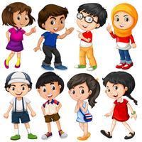 Olika karaktärer av pojkar och tjejer
