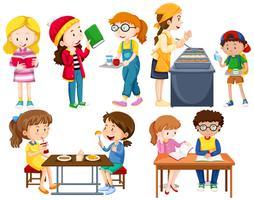 Studenter gör olika aktiviteter vektor