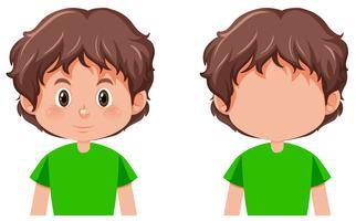 Sats med pojkens karaktär vektor