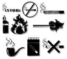 Rauchen von Icons in schwarzer Farbe vektor