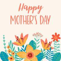 Glad mors dag. Vektor illustration med blommor.