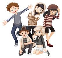 Grupp lyckliga tonåringar