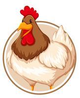 Huhn auf Kreisfahne vektor