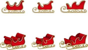 isolierter Weihnachtsmann-Schlitten für Weihnachtsdekorationen vektor