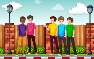 En grupp av ung man vektor